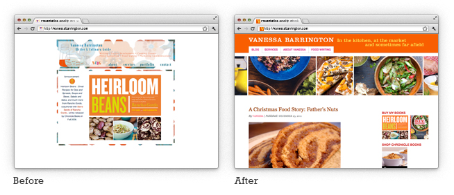 case-study - before and after of food blog redesign